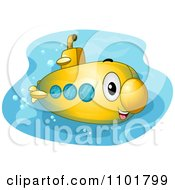 Clipart Cute Happy Yellow Submarine Royalty Free Vector Illustration