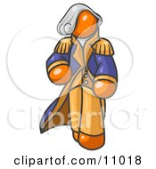 Orange George Washington Character Clipart Illustration by Leo Blanchette