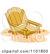 Clipart Wooden Beach Chair In Sand Royalty Free Vector Illustration