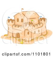 Clipart Fortified Sand Castle Royalty Free Vector Illustration