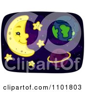 Clipart Happy Crescent Moon With Earth And A Planet In Space With Stars Royalty Free Vector Illustration