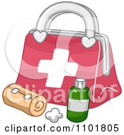 Clipart Bandage And Medicine By A First Aid Medical Kit Royalty Free Vector Illustration by BNP Design Studio