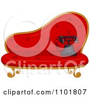 Clipart Old Fashioned Phone On A Red Settee Royalty Free Vector Illustration by BNP Design Studio