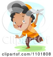 Clipart Happy Black Boy Running With A Toy Plane Outside Royalty Free Vector Illustration