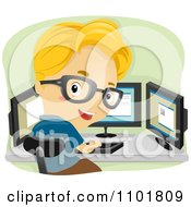 Clipart Smart Boy Working With Three Computer Monitors Royalty Free Vector Illustration
