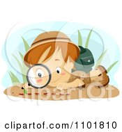 Clipart Boy Observing Ants With A Magnifying Glass Royalty Free Vector Illustration by BNP Design Studio