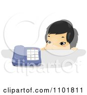 Clipart Asian Child Looking Over A Counter At A Telephone Royalty Free Vector Illustration