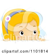 Clipart Blond Girl Looking Over A Surface Royalty Free Vector Illustration
