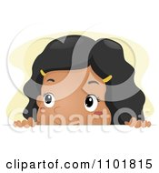 Clipart Black Girl Looking Over A Surface Royalty Free Vector Illustration