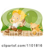 Explorer Boy Running From A Lion Cub In The Jungle