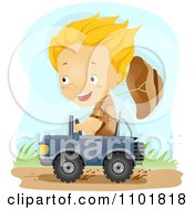 Clipart Explorer Boy Driving A Tiny Jeep Royalty Free Vector Illustration by BNP Design Studio