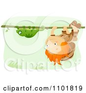 Boy Hanging Upside Down On A Vine And Following A Chameleon