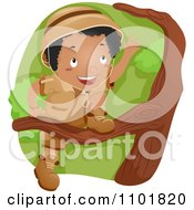 Clipart Black Explorer Boy Scout Boy Climbing A Tree Royalty Free Vector Illustration