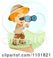 Explorer Boy Viewing A Landscape Through Binoculars