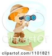 Explorer Boy Viewing A Landscape Through Binoculars