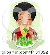 Clipart Picky Eater Forcing Himself To Eat Broccoli Royalty Free Vector Illustration