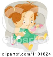 Clipart Mad Girl Ripping Her Dolls Head Off Royalty Free Vector Illustration