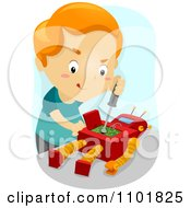 Clipart Boy Repairing His Toy Robot Royalty Free Vector Illustration