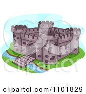 Clipart Fortress With A Bridge Gate Down Over A Moat Royalty Free Vector Illustration