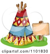 Clipart Native American Tipi With A Sign Royalty Free Vector Illustration