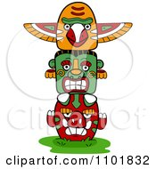Clipart Native American Totem With Three Faces Royalty Free Vector Illustration