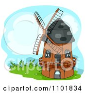 Clipart Windmill On Grass Royalty Free Vector Illustration by BNP Design Studio