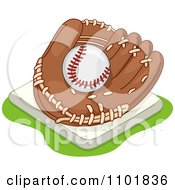 Clipart Baseball In A Glove On A Base Royalty Free Vector Illustration