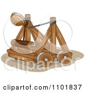 Clipart Wooden Catapult Royalty Free Vector Illustration