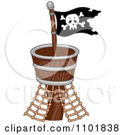 Clipart Pirate Flag On A Crows Nest Royalty Free Vector Illustration