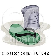 Clipart Green Flip Flop And Can Royalty Free Vector Illustration