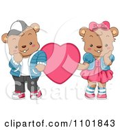 Clipart Cute Teddy Bear Couple With A Pink Heart Royalty Free Vector Illustration