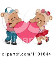 Clipart Cute Teddy Bear Couple Resting On A Pink Heart Royalty Free Vector Illustration