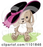 Clipart Cute Rabbit With A Black And Pink Hat Royalty Free Vector Illustration