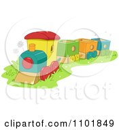 Clipart Toy Train In Grass Royalty Free Vector Illustration