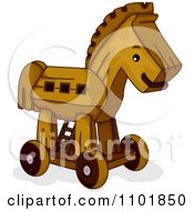 Clipart Wooden Toy Trojan Horse Royalty Free Vector Illustration by BNP Design Studio