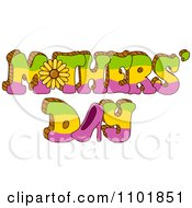 Clipart Green Yellow And Pink Mothers Day Text With A Sunflower And High Heel Royalty Free Vector Illustration