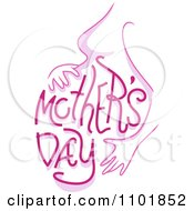 Clipart Pink Mothers Day Text On A Pregnant Womans Belly Royalty Free Vector Illustration