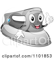 Clipart Happy Laundry Iron Holding A Thumb Up Royalty Free Vector Illustration