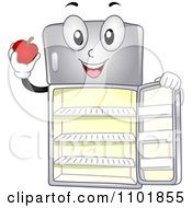 Clipart Happy Refrigerator Holding The Door Open And An Apple Royalty Free Vector Illustration by BNP Design Studio