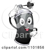 Clipart Happy Black Spray Can Squirting Paint Royalty Free Vector Illustration