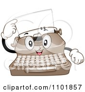 Clipart Happy Typewriter Pointing To A Page Royalty Free Vector Illustration by BNP Design Studio
