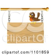Clipart Happy Robin Perched On A Wood Sign Royalty Free Vector Illustration