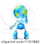 Clipart 3d Blue Globe Headed Robot Royalty Free Vector Illustration