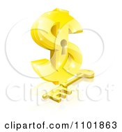 Clipart 3d Golden Dollar Symbol With A Key Hole And Skeleton Key Royalty Free Vector Illustration by AtStockIllustration
