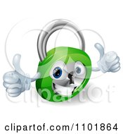 Clipart 3d Happy Padlock With Two Thumbs Up Royalty Free Vector Illustration