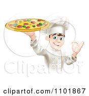 Clipart Happy Male Pizza Chef Gesturing Ok And Holding Up A Pie Royalty Free Vector Illustration by AtStockIllustration