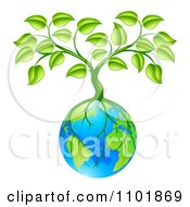 Clipart Tree With Roots Growing Around Earth Royalty Free Vector Illustration