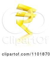 3d Sparkly Gold Rupee Currency Symbol And Reflection