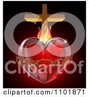 3d Sacred Heart With Fire Thorns And A Cross