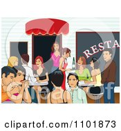 Clipart Happy People Socializing At A Restaurant Royalty Free Vector Illustration